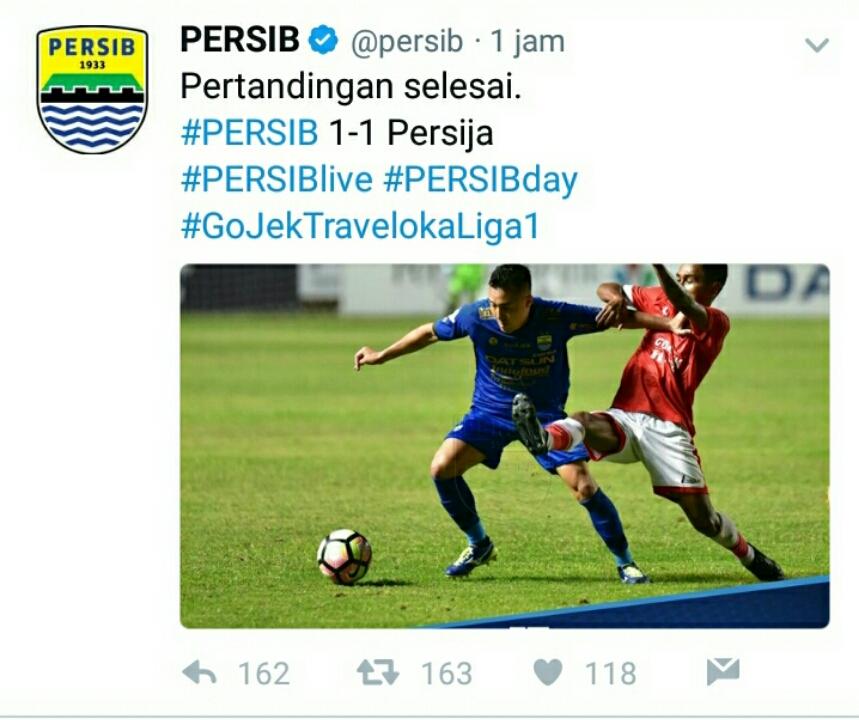 Persib VS Persija Imbang, Netizen Rindu Juara