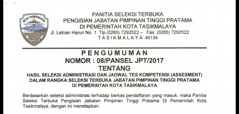 Inilah Nama Nama Peserta Yang Lolos Seleksi Administrasi Untuk Jabatan Kadis