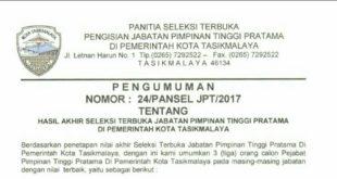 Pengumuman Hasil Akhir Seleksi Terbuka Jabatan Pimpinan Tinggi PratamaDi Pemerintah Kota Tasikmalaya