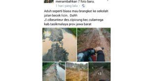 Warganet Keluhkan Jalan Rusak Di Culamega Kabupaten Tasik