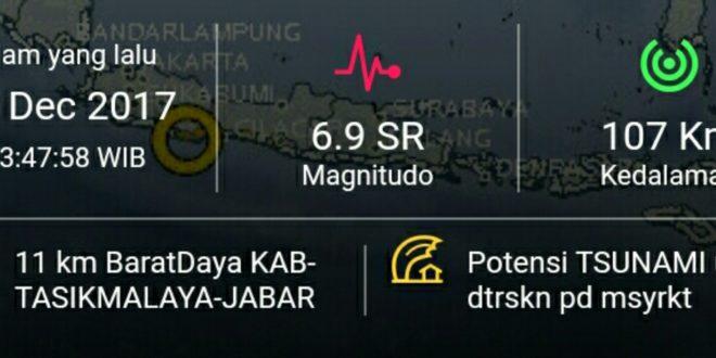 BPBD Kab Tasik Himbau Warga Waspada Gempa 6,9 SR Berpotensi Tsunami