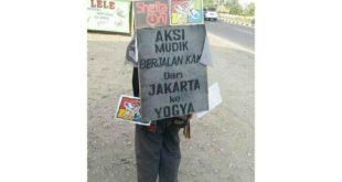 Luar Biasa, Pria Ini Mudik Berjalan Kaki Jakarta-Yogyakarta