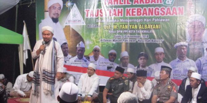 Peringati Hari Pahlawan, DPW FPI Kota Tasik Gelar Tahlil Akbar & Tausiyah Kebangsaan