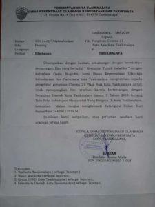surat edaran Disporabudpar Kota Tasikmalaya