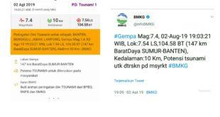 Gempa 7,4 SR Berpotensi Tsunami Terasa Sampai Ke Tasikmalaya