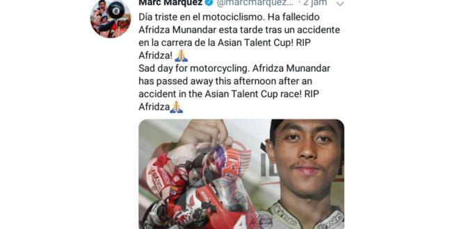 Marc Marquez Ucapkan Bela Sungkawa Atas Meninggalnya Pembalap Asal Tasikmalaya