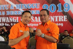 Ketua Umum Pengcab Tarung Derajat Kota Tasikmalaya H Cuncun Eris Budiana dan Ketua Harian H Agus Jamaludin