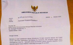Surat dari Ombudsman yang ditujukan Kepada Ketua KPK
